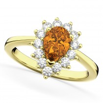 Halo Citrine & Diamond Floral Pear Shaped Fashion Ring 14k Yellow Gold (1.07ct)