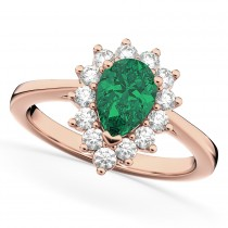 Halo Emerald & Diamond Floral Pear Shaped Fashion Ring 14k Rose Gold (1.12ct)