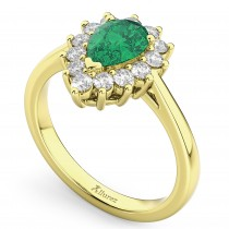 Halo Emerald & Diamond Floral Pear Shaped Fashion Ring 14k Yellow Gold (1.12ct)
