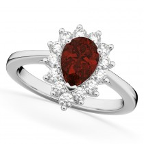 Halo Garnet & Diamond Floral Pear Shaped Fashion Ring 14k White Gold (1.42ct)