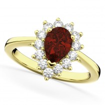 Halo Garnet & Diamond Floral Pear Shaped Fashion Ring 14k Yellow Gold (1.42ct)