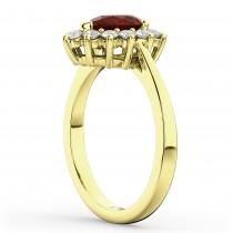 Halo Garnet & Diamond Floral Pear Shaped Fashion Ring 14k Yellow Gold (1.42ct)