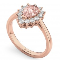 Halo Morganite & Diamond Floral Pear Shaped Fashion Ring 14k Rose Gold (1.07ct)