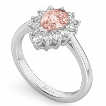 Halo Morganite & Diamond Floral Pear Shaped Fashion Ring 14k White Gold (1.07ct)