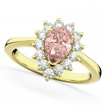 Halo Morganite & Diamond Floral Pear Shaped Fashion Ring 14k Yellow Gold (1.07ct)