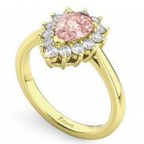Halo Morganite & Diamond Floral Pear Shaped Fashion Ring 14k Yellow Gold (1.07ct)