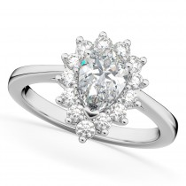 Halo Moissanite & Diamond Floral Pear Shaped Fashion Ring 14k White Gold (1.11ct)