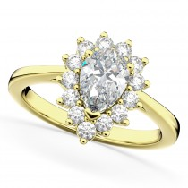 Halo Moissanite & Diamond Floral Pear Shaped Fashion Ring 14k Yellow Gold (1.11ct)