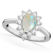 Halo Opal & Diamond Floral Pear Shaped Fashion Ring 14k White Gold (1.27ct)