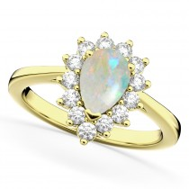 Halo Opal & Diamond Floral Pear Shaped Fashion Ring 14k Yellow Gold (1.27ct)
