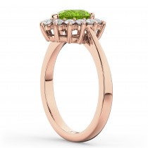Halo Peridot & Diamond Floral Pear Shaped Fashion Ring 14k Rose Gold (1.12ct)