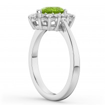 Halo Peridot & Diamond Floral Pear Shaped Fashion Ring 14k White Gold (1.12ct)