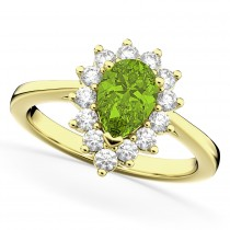 Halo Peridot & Diamond Floral Pear Shaped Fashion Ring 14k Yellow Gold (1.12ct)