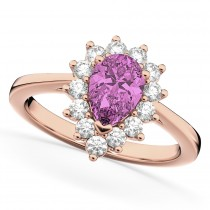 Halo Pink Sapphire & Diamond Floral Pear Shaped Fashion Ring 14k Rose Gold (1.27ct)