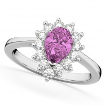 Halo Pink Sapphire & Diamond Floral Pear Shaped Fashion Ring 14k White Gold (1.27ct)