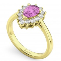 Halo Pink Sapphire & Diamond Floral Pear Shaped Fashion Ring 14k Yellow Gold (1.27ct)