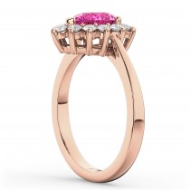 Halo Pink Tourmaline & Diamond Floral Pear Shaped Fashion Ring 14k Rose Gold (1.02ct)