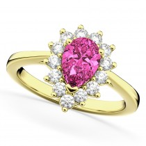 Halo Pink Tourmaline & Diamond Floral Pear Shaped Fashion Ring 14k Yellow Gold (1.02ct)
