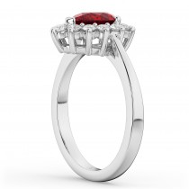 Halo Ruby & Diamond Floral Pear Shaped Fashion Ring 14k White Gold (1.27ct)