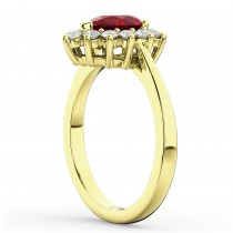 Halo Ruby & Diamond Floral Pear Shaped Fashion Ring 14k Yellow Gold (1.27ct)