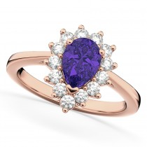 Halo Tanzanite & Diamond Floral Pear Shaped Fashion Ring 14k Rose Gold (1.27ct)
