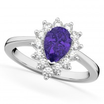 Halo Tanzanite & Diamond Floral Pear Shaped Fashion Ring 14k White Gold (1.27ct)