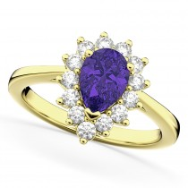Halo Tanzanite & Diamond Floral Pear Shaped Fashion Ring 14k Yellow Gold (1.27ct)