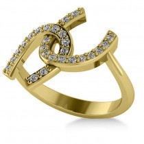 Diamond Double Horseshoe Fashion Ring 14k Yellow Gold (0.26ct)