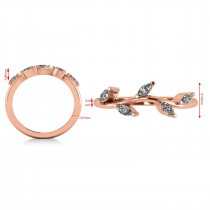 Marquise Diamond Vine Leaf Wedding Band 14k Rose Gold (0.45ct)