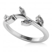 Marquise Diamond Vine Leaf Wedding Band 14k White Gold (0.45ct)