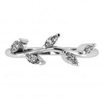 Marquise Diamond Vine Leaf Wedding Band 14k White Gold (0.45ct)