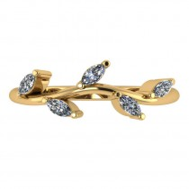 Marquise Diamond Vine Leaf Wedding Band 14k Yellow Gold (0.45ct)
