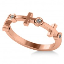 Cross & Diamond Wedding Band 14k Rose Gold (0.06ct)