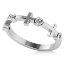 Cross & Diamond Wedding Band 14k White Gold (0.06ct)