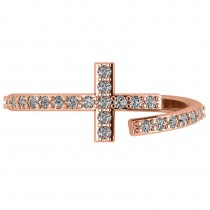 Curved Cross Diamond Fashion Ring 14k Rose Gold (0.36ct)