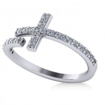 Curved Cross Diamond Fashion Ring 14k White Gold (0.36ct)