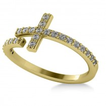Curved Cross Diamond Fashion Ring 14k Yellow Gold (0.36ct)