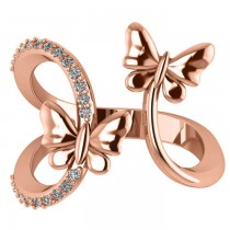 Diamond Accented Double Butterfly Fashion Ring 14k Rose Gold (0.23ct)
