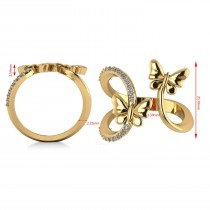 Diamond Accented Double Butterfly Fashion Ring 14k Yellow Gold (0.23ct)