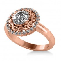 Diamond Swirl Halo Engagement Ring 14k Rose Gold (1.24ct)
