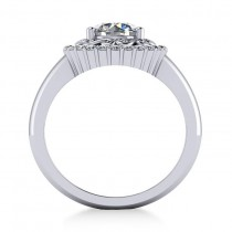 Diamond Swirl Halo Engagement Ring 14k White Gold (1.24ct)