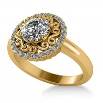 Diamond Swirl Halo Engagement Ring 14k Yellow Gold (1.24ct)