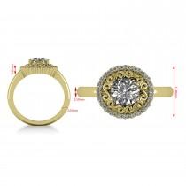Diamond Swirl Halo Engagement Ring 14k Yellow Gold (1.24ct)