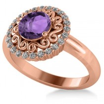Amethyst & Diamond Swirl Halo Engagement Ring 14k Rose Gold (1.24ct)