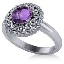 Amethyst & Diamond Swirl Halo Engagement Ring 14k White Gold (1.24ct)
