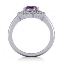 Amethyst & Diamond Swirl Halo Engagement Ring 14k White Gold (1.24ct)