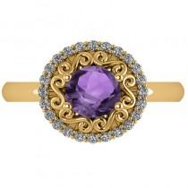 Amethyst & Diamond Swirl Halo Engagement Ring 14k Yellow Gold (1.24ct)