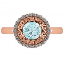 Aquamarine & Diamond Swirl Halo Engagement Ring 14k Rose Gold (1.24ct)