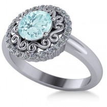 Aquamarine & Diamond Swirl Halo Engagement Ring 14k White Gold (1.24ct)