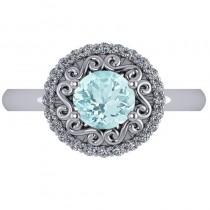Aquamarine & Diamond Swirl Halo Engagement Ring 14k White Gold (1.24ct)